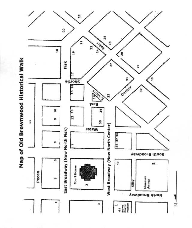Map of Walking Tour of Old Historical Brownwood